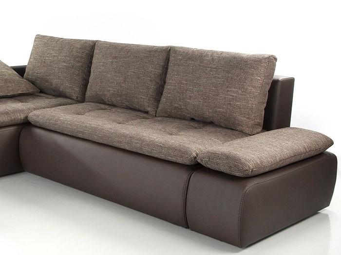 Couch Sunrise 259x201cm Webstoff Braun Kunstleder Braun